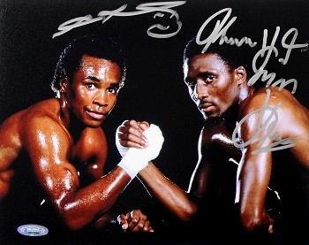 Tommy 'Hit Man' Hearns & 'Sugar' Ray Leonard Autographed 8x10 Photo