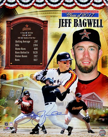 Jeff Bagwell Autographed Hall of Fame Tribute Collage 16x20 Photo