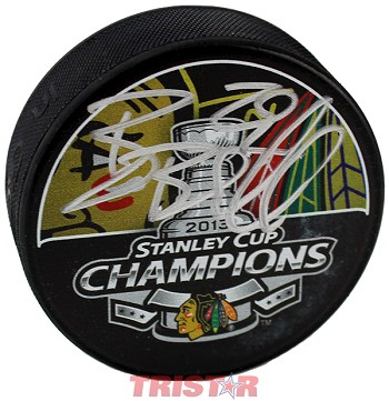 Bryan Bickell Autographed Chicago Blackhawks 2013 Stanley Cup Champ Puck