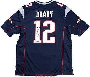 17c08353b3f Tom Brady Autographed New England Patriots Nike 'Game' Blue ...