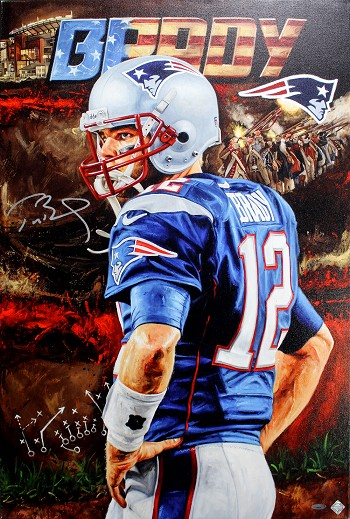 Tom Brady Autographed New England Patriots 24x36 Canvas Giclee