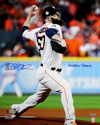 Dallas Keuchel Autographed Astros 2017 World Series 16x20 Photo Inscribed Houston Strong