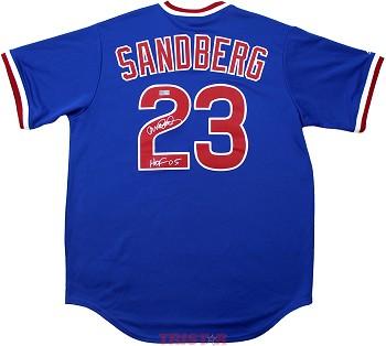 quality design c6dad cb6b7 Ryne Sandberg Autographed Chicago Cubs Blue Replica Jersey Inscribed HOF 05