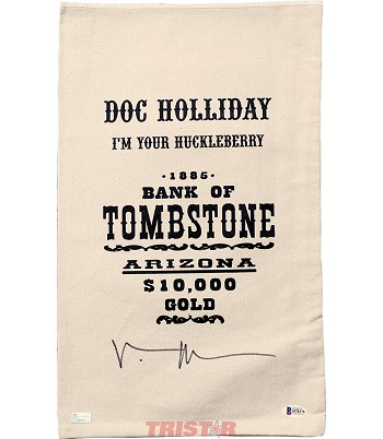 Val Kilmer Autographed Doc Holliday 1885 Bank of Tombstone Prop Money Bag