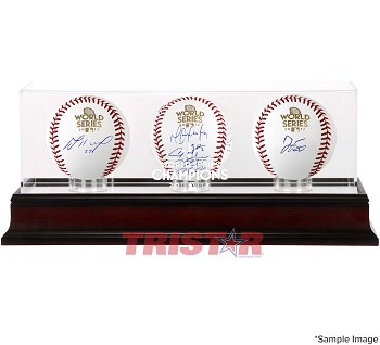Houston Astros Team Autographed 2017 World Series Baseballs with Display Case
