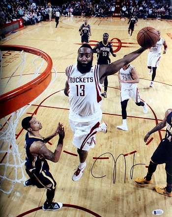 James Harden Autographed Houston Rockets Dunking 16x20 Photo