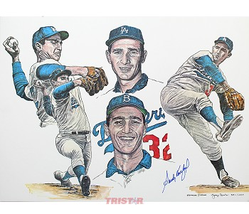 Sandy Koufax Autographed Dodgers Career Collage 18x24 Lithograph