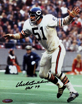 Dick Butkus Autographed Chicago Bears Arms Out 8x10 Photo Inscribed HOF 79