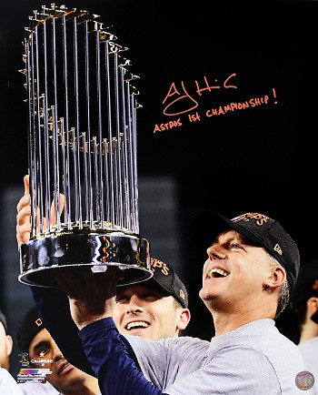 A.J. Hinch Autographed Houston Astros 16x20 Photo Inscribed Astros 1st Championship!