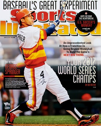 George Springer Autographed Sports Illustrated Cover Astros 2017 WS Champs 16x20 Photo