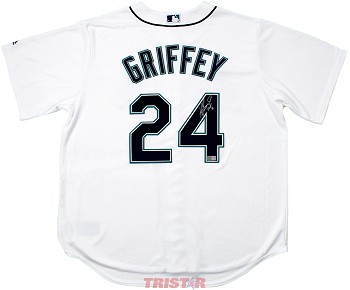 new concept 860f2 401e5 Ken Griffey Jr. Autographed Seattle Mariners White Majestic Jersey  Inscribed HOF 16