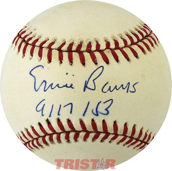 Ernie Banks Autographed Official National League Baseball Inscribed 9/17/1953