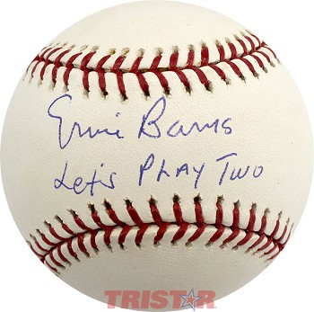 Ernie Banks Autographed Baseball Inscribed Let's Play Two