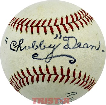 Chubby Dean Autographed Official Pro League Baseball Inscribed Riverside NJ 1966