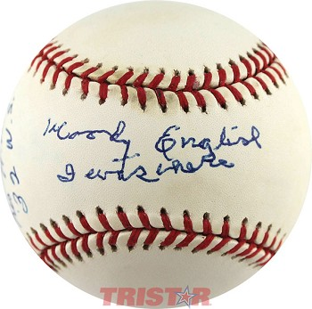 Woody English Autographed National League Baseball Inscribed I Was There