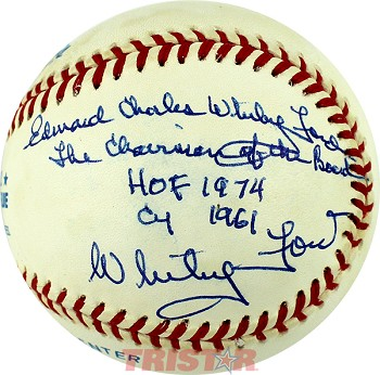 Edward Charles Whitey Ford Autographed Official AL Baseball Inscribed Chairman, HOF, Cy