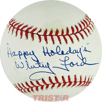 Whitey Ford Autographed Official AL Baseball Inscribed Happy Holidays