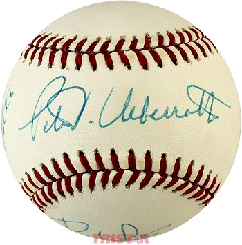 Pete Ueberroth, Bart Giamatti & Bill White Autographed Baseball PSA/DNA Grade 8.5