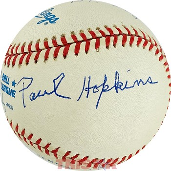 Paul Hopkins Autographed American League Baseball Inscribed Pitched Babe Ruth's 59th HR