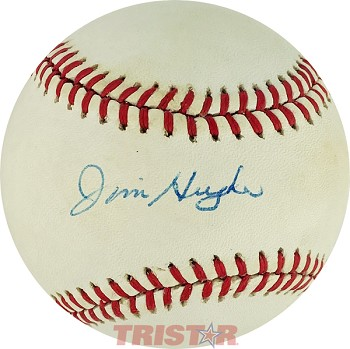 Jim Hughes Autographed Official National League Baseball