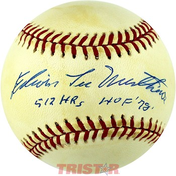 Eddie Mathews Full Name Autographed Baseball Inscribed 512 HRs, HOF 1978