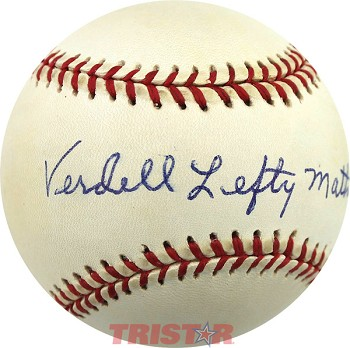Verdell Mathis Autographed Official National League Baseball Inscribed Lefty