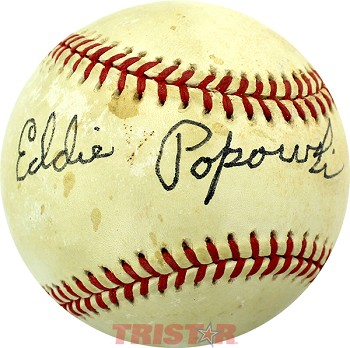 Eddie Popowski Autographed Official American League Baseball Inscribed To Ron