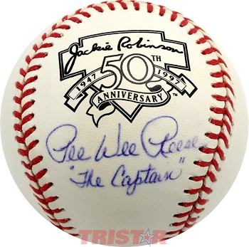 Pee Wee Reese Autographed Jackie Robinson Baseball Inscribed 'The Captain'
