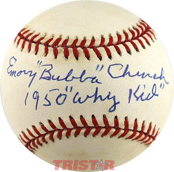 Emory 'Bubba' Church Autographed Official NL Baseball Inscribed 1950 'Whiz Kid'