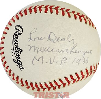 Lou Dials Autographed Baseball Inscribed Mexican League MVP 1938