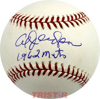 Al Jackson Autographed Official Major League Baseball Inscribed 1962 Mets