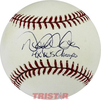 Derek Jeter Autographed Official ML Baseball Inscribed 4x WS Champs