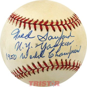 Fred Sanford Autographed Official American League Baseball Inscribed 1950 NYY