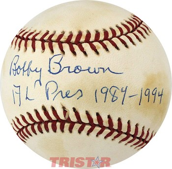 Bobby Brown Autographed Official AL Baseball Inscribed AL Pres 1984-1994