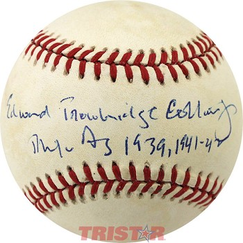 Eddie Collins, Jr. Autographed Official AL Baseball Inscribed Phila A's 1939, 41 42