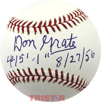 Don Grate Autographed Official Major League Baseball Inscribed 445'-1'' 8/27/56