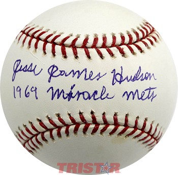 Jesse James Hudson Autographed Official Major League Baseball Inscribed 1969 Miracle Mets