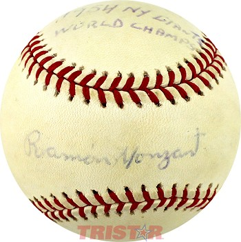 Ramón Monzant Autographed Official NL Baseball Inscribed 1954 NY Giants World Champs