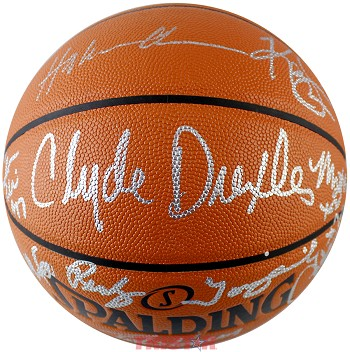Houston Rockets 1994-1995 Champions Team Autographed I/O NBA Basketball - Olajuwon, Drexler & More
