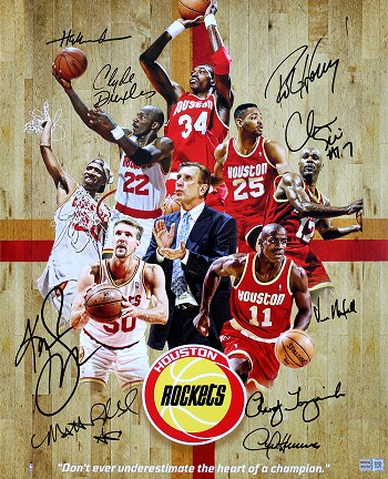 Houston Rockets 1994-1995 Champions Team Autographed 16x20 Photo - Olajuwon, Drexler & More