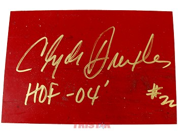 Clyde Drexler Autographed Authentic Summit Floor Piece Inscribed HOF 04
