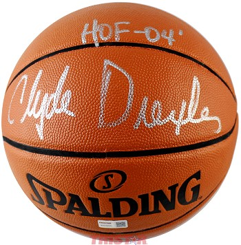 Clyde Drexler Autographed Spalding I/O NBA Game Ball Series Basketball Inscribed HOF 04