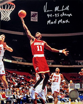 Vernon Maxwell Autographed Houston Rockets 8x10 Photo Inscribed 94-95 Champs