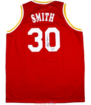 Kenny Smith Autographed Houston Rockets Custom Jersey Inscribed 2x NBA Champ