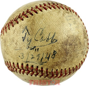 Ty Cobb Autographed Vintage Baseball Inscribed 3/29/48