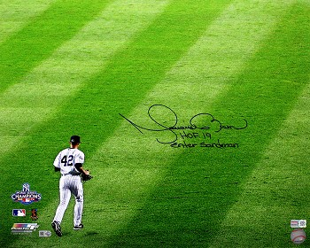 Mariano Rivera Autographed Yankees 16x20 Photo Inscribed HOF 19, Enter Sandman