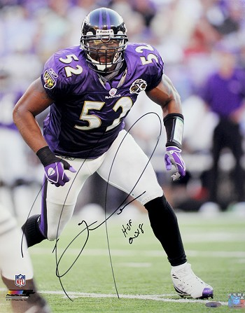 Ray Lewis Autographed Baltimore Ravens 16x20 Photo Inscribed HOF 2018