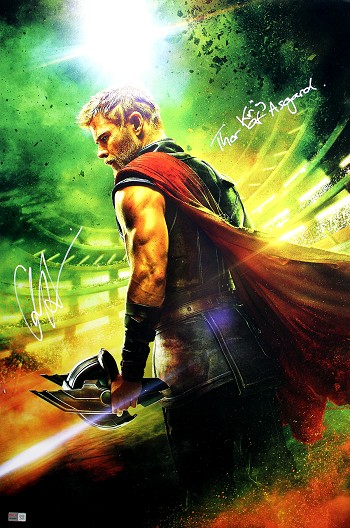 Chris Hemsworth Autographed Marvel Avengers 20x30 Photo Inscribed Thor King of Asgard