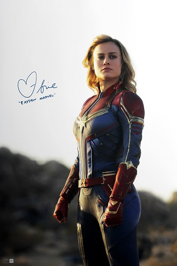 Brie Larson Autographed 'Captain Marvel' Carol Danvers 20x30 Photo Inscribed Captain Marvel