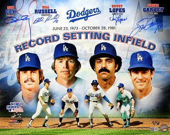 Garvey, Russell, Lopes & Cey Autographed LA Dodgers Record Setting Infield 16x20 Photo LE